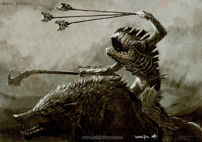 The Blog of the Hobbit: Nick Keller's Concept Art Warg Riders Drawings